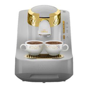 ماكينة القهوة اوكا ابيض في ذهبي