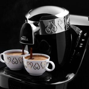 ماكينة القهوة اوكا اللون اسود فضي